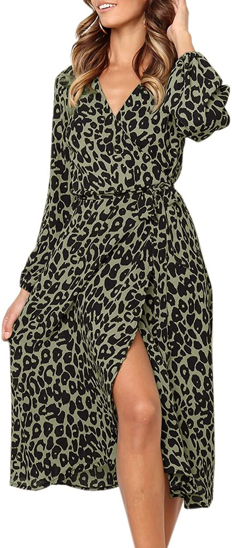 Chellysun Womens Long Sleeve Dresses Wrap V Neck Leopard Lightweight Swing Split Beach Dress