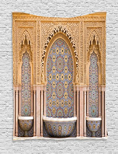 Ambesonne Room Tapestry Moroccan Decor, Typical Moroccan Tiled Fountain in The City of Rabat Near The Hassan Tower Image, Bedroom Living Room Dorm Wall Hanging, 40 W x 60 L inches, Ivory and Blue