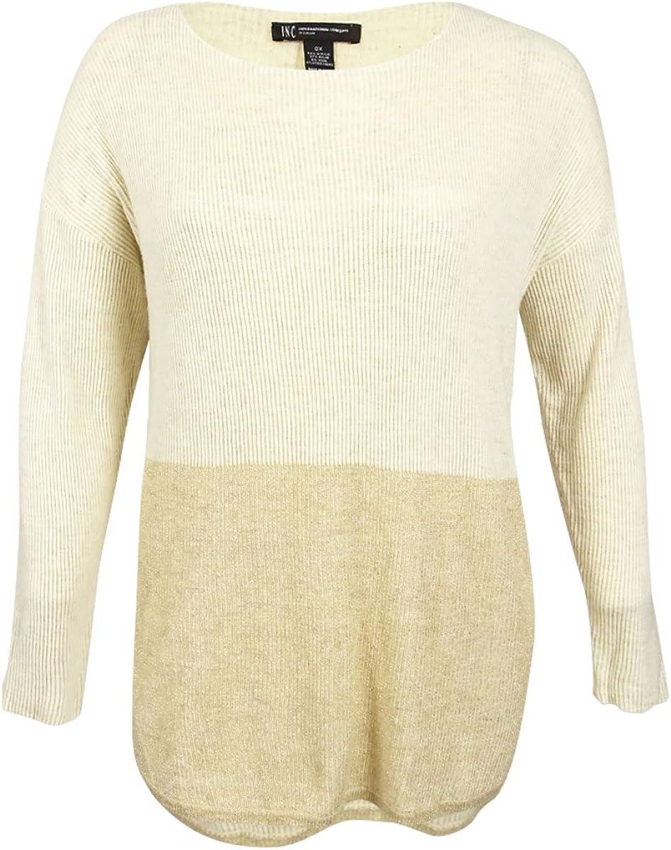 INC International Concepts Women's Plus Size High-Low Metallic Sweater