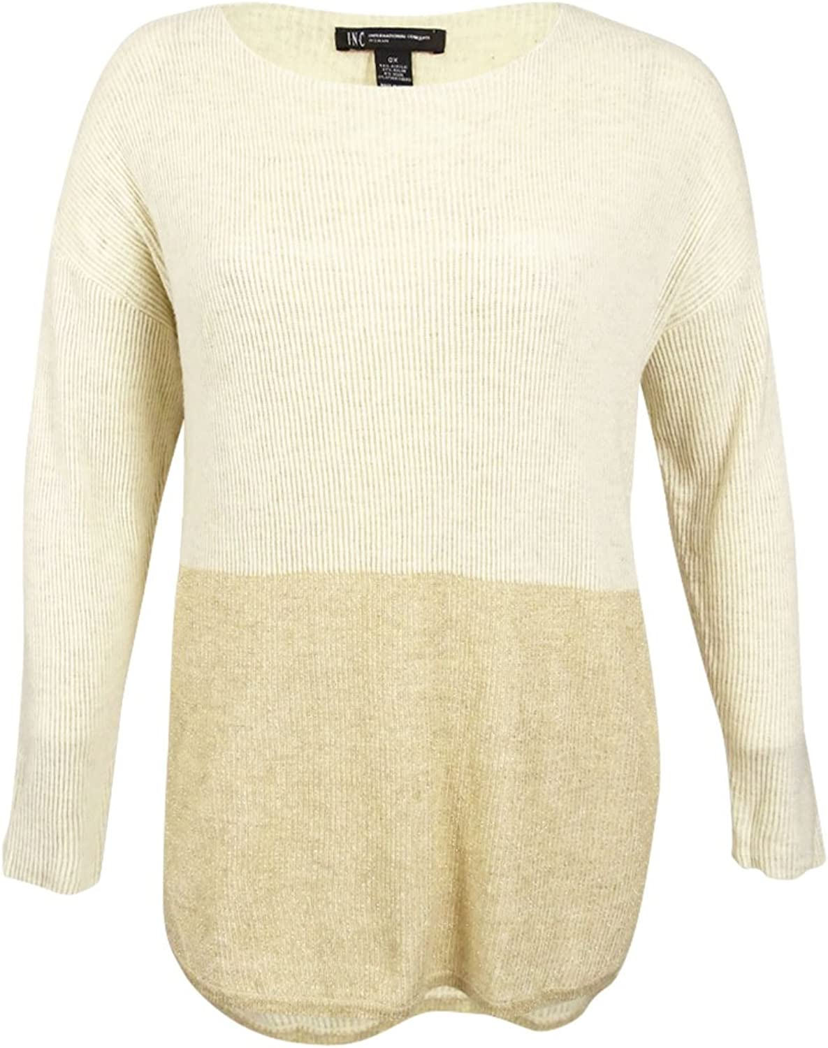 INC Womens Plus Two Tone HighLow Crewneck Sweater Beige 0X