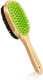 Dog Bath Massage Brush for Dog Cat Shower Grooming, Double Sided Silicone Pin Bristle Bamboo Comb Remove Loose Dirt Shedding Hair for Short Medium Long Hair Pet