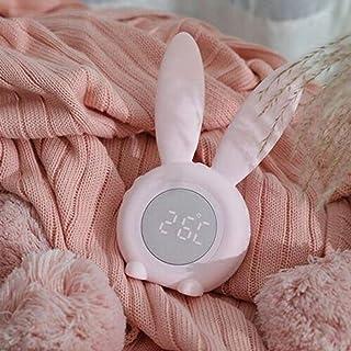 FPRW Cute Rabbit Digital Alarm Clock, Snooze Cartoon Baby Sleep Light Alarm Clock, Reloj de cabecera multifunción