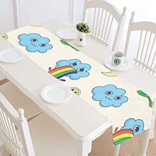 ZHZJJ Home Linen Table Runner - 14 X 72 Inch, Cloud Which Rainbow Comes Painted On for Family Dinners Or Gatherings, Indoor Or Outdoor Parties, Everyday Use