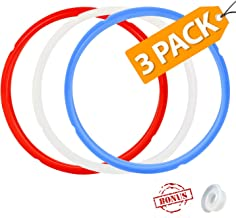 3 Pack Silicone Sealing Ring with Bonused Sealer - Silicone Seal Ring Replacement - Color Coded with 3 Different Colors - Easy Clean Perfect Accessory for 5/6 qt Pressure Cookers