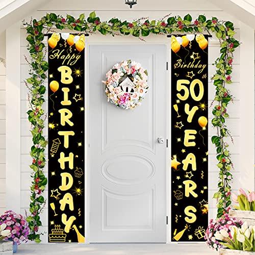50 Anni Compleanno Striscione di Tessuto Sfondo Fotografico,50 Compleanno Striscione Buon Compleanno Nero Oro,50 Anni Compleanno Decorazioni Donna e Uomo,50 Anni Addobbi per Feste di Compleanno