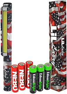 Nebo 6492 LiL Larry Patriotic 250 lumen Flashlight COB LED Magnetic Worklight (US Flag print) with 3 X EdisonBright AAA Alkaline batteries bundle