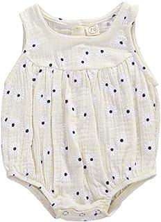 طفل بنت زهري رومبير مولود جديد بلا أكمام ارتداءها جذاب قطعة واحدة رضيع القطن والكتان بذلة (Color : B, Kid Size : 6M)