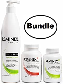 Anti Gray Hair Conditioner + Reminex GH Hair Supplement + Reminex 60 Hair Growth Vitamins – Complete Bundle To Moisturize, Protect and Volumize Your Hair