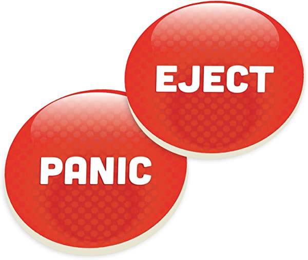 P Graham Dunn Panic Eject Button Red Ceramic Car Coaster Pack Set Of 2