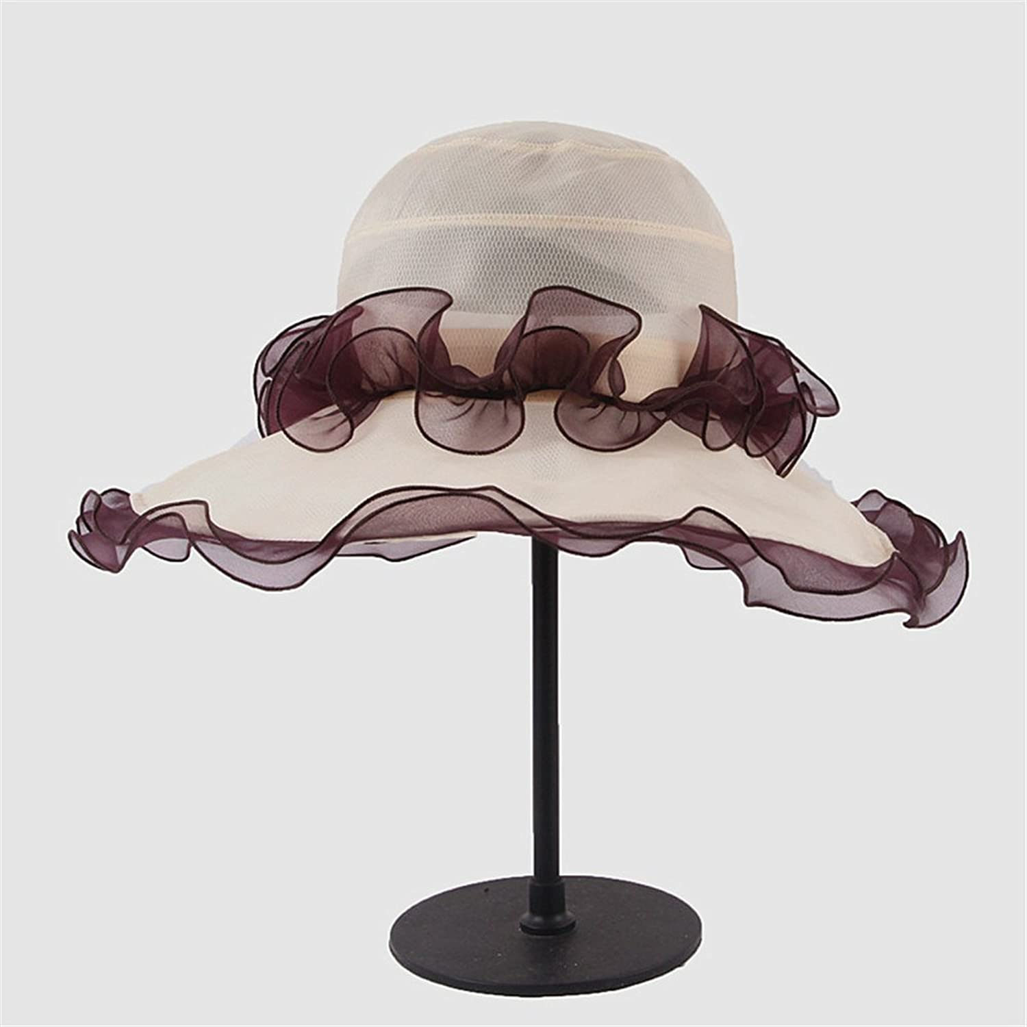Women's Hat Silk Hat of Sunblock Can Be Folded Into Mulberry Silk Hat (color   Beige)