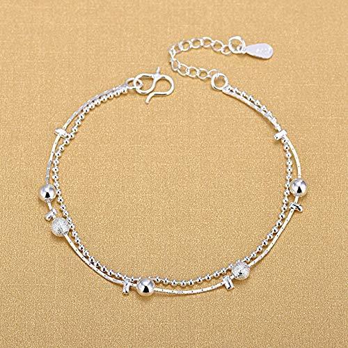 Sterling zilveren armband dames, Fashion Lady kralen 925 sterling zilveren armband retro dubbele laag sieraden persoonlijkheid charme zilveren armband eenvoudige casual comfortabel partij kerst engageme
