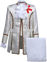 SFE Men Vintage Long Sleeve Round Neck Jackets Pants 2 Piece Set Medieval Charming Prince Cosplay Halloween Costume