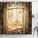ABAKUHAUS Pirat Duschvorhang, Karte auf Grunge Timber, mit 12 Ringe Set Wasserdicht Stielvoll Modern Farbfest & Schimmel Resistent, 175x200 cm, Braun Creme