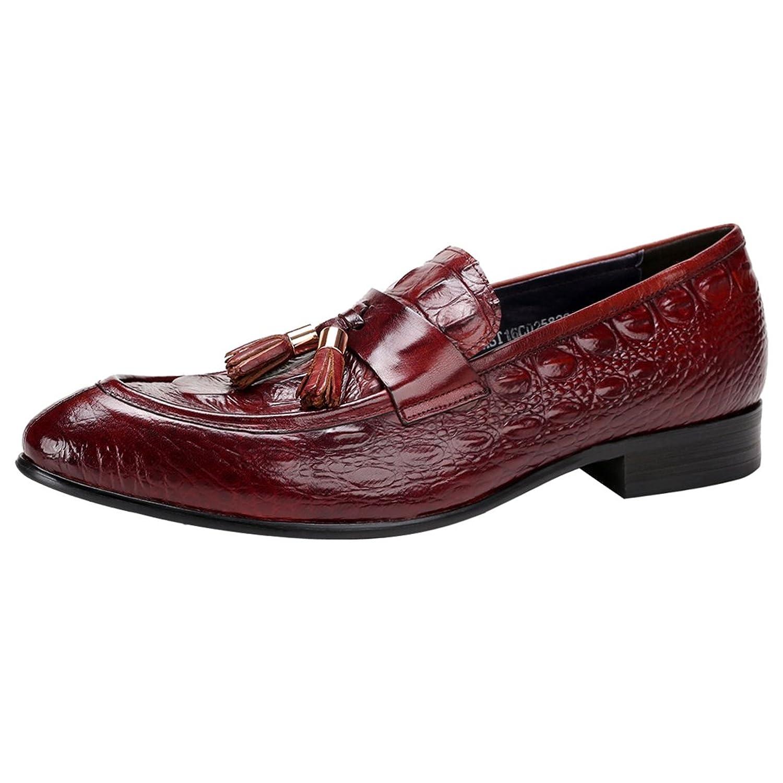 [WEWIN] ビジネスシューズ タッセル ローファー メンズ 本革 モカシン スリッポン 型押し 革靴 Uチップ カジュアル ファッション
