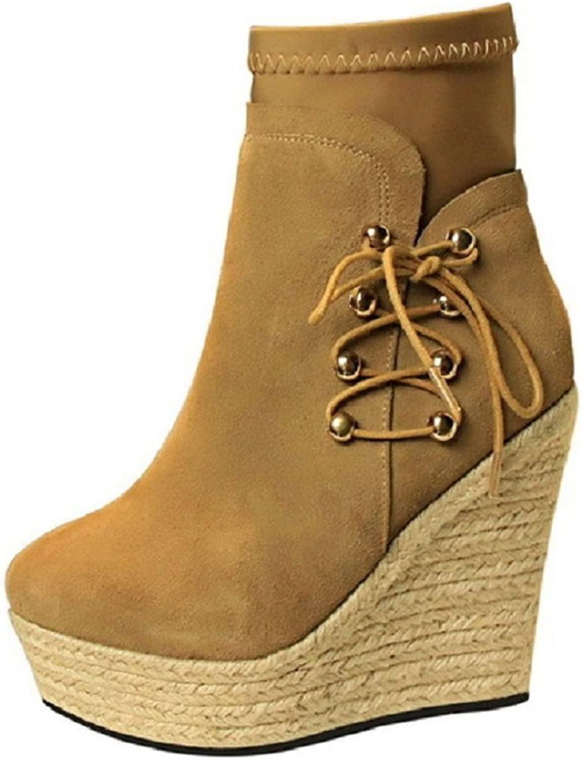 Tianrui Crown Women's Women's Espadrille Platform Wedge Short Boot Platform Ankle Boot
