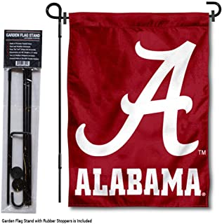 College Flags and Banners Co. Alabama Crimson Tide Script A Garden Flag with Stand Holder