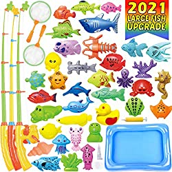 20%OFF CozyBomB Magnetic Fishing Toys Game Set for Kids Water Table Bathtub Kiddie Pool Party with Pole Rod Net