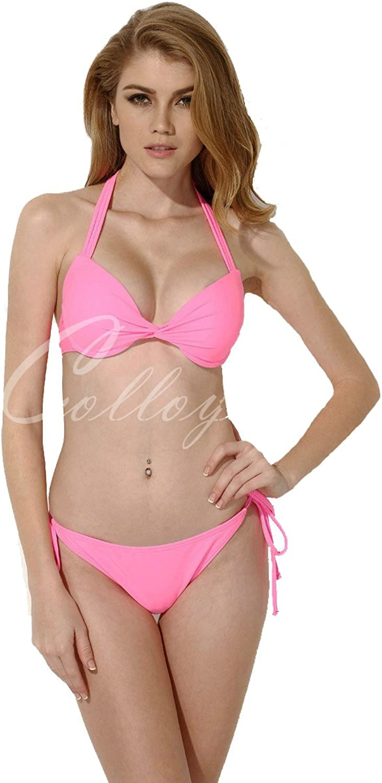 Colloyes Womens Add2Cups Halter Top Swimwear Set Pushup