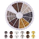 PandaHall Elite 1 Caja 3000PCS Mezclado Tubo de latón Terminal, Metal, Color Mezclado, 2mm