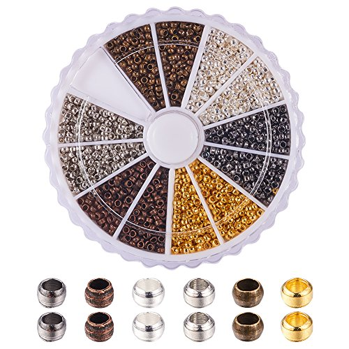 PandaHall - 3000 Pcs 6 Couleurs Perles à écraser en Laiton 2 mm Perles Tube à Sertir Perle Ronde pour la Fabrication de Bijoux