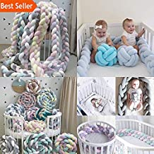1M/2M Length Newborn Baby Bed Bumper Pure Weaving Plush Knot Crib Bumper Kids Bed Baby Cot Protector Baby Room Decor (Grey 1M)