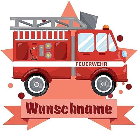 Samunshi Feuerwehr Auto Aufkleber Mit Namen Autoaufkleber Namensaufkleber Kinder In 7 Größen 15x13 1cm Mehrfarbig Küche Haushalt