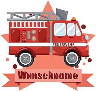 Samunshi® Feuerwehr Auto Aufkleber mit Namen Autoaufkleber Namensaufkleber Kinder in 7 Größen (10x8,8cm Mehrfarbig)
