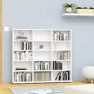 vidaXL Armoire à CD Bibliothèque Etagère de Rangement Etagère à DVD Livres avec 15 Compartiments Bureau Blanc 102x23x89,5 ...