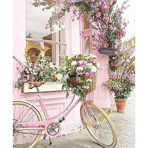 Varadyle DPF DIY Bicicleta Flor 5D Cuadrado Diamante Pintura Cruz Punto Artesanía Diamante Bordado Pared Pintura vivienda Cultura