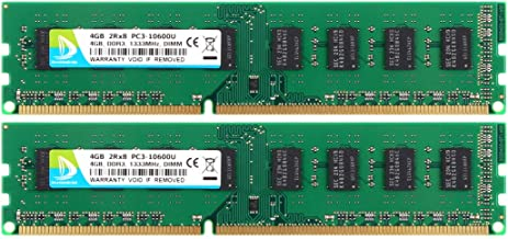 DUOMEIQI 8GB DDR3 Kit (2x4GB) 2Rx8 PC3 10600U 8GB RAM DDR3 1333 240-pin DIMM RAM Memory Module Upgrade Chips for Desktop Computer