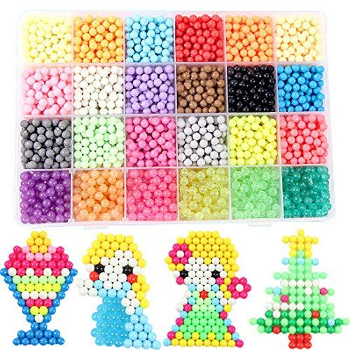 Nachfüllset Wasserperlen Komplettes Zubehör inklusive 24 Farben, 3000 Perlen Nachfüllset mit Regelmäßige Größe Perlen kompatibel ist Bastelset Designer Kollektion für Kinder mit Kristallperlen