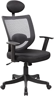 IFCO DECO AOC-8148-BK High Back Mesh and PU Executive and Managerial Computer Desk Swivel Office Chair with Headrest (Black)