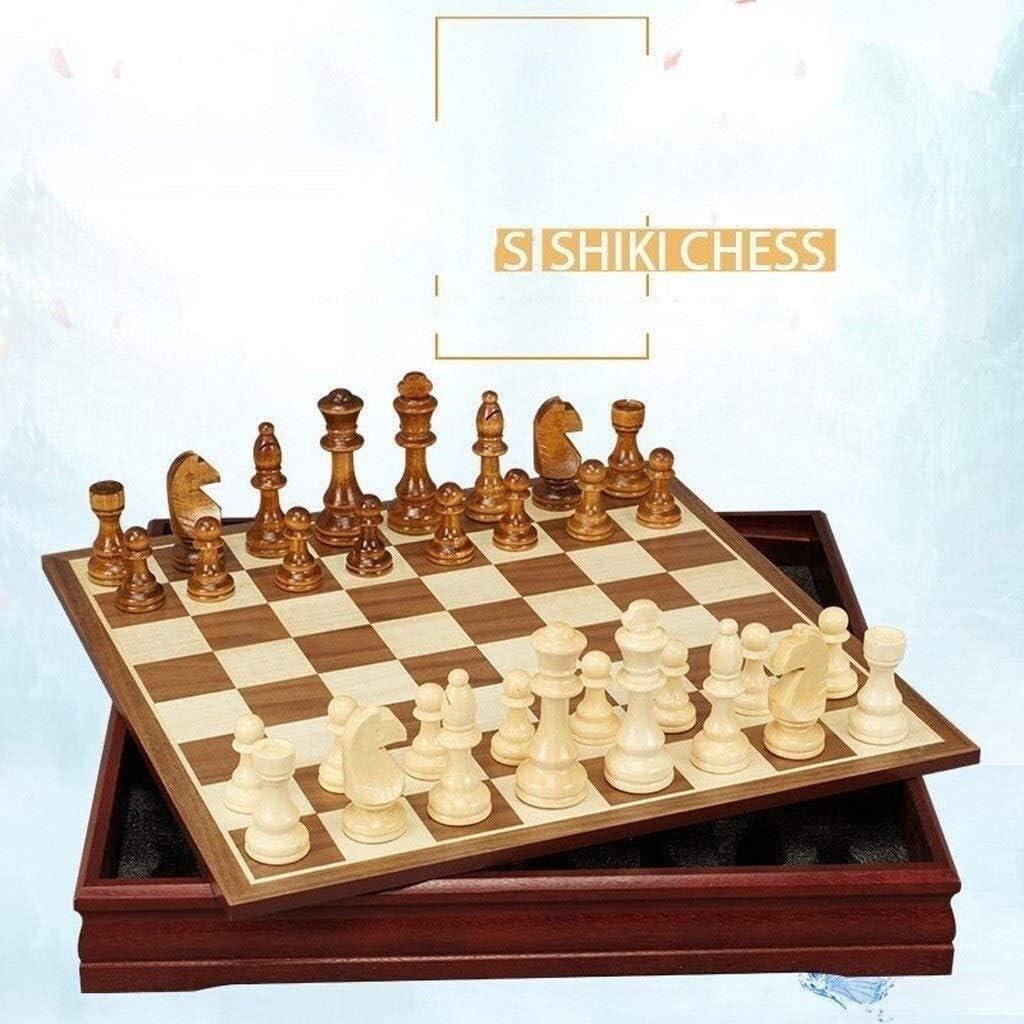 Schaak set Houten International Chess spelhervattingen ingestelde Board Game schaakstukken Collection Portable schaken Board Reisspellen Toys lucar (Color : 12inch) 18inch
