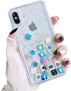 UnnFiko Liquid Glitter Case for iPhone X, Hard Back Colorful Bling Quicksand with iOS icon Apple APP Shine Phone Case for iPhone X 10(Gold Glitter, iPhone X)