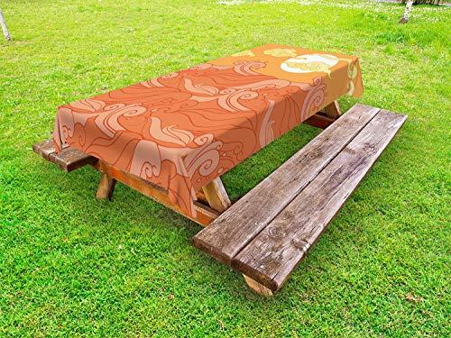 ABAKUHAUS Vagues Nappe Extérieure, Nuages Sun Surreal Splashes, Nappe de Table de Pique-Nique Lavable et Décorative, 145 cm x 265 cm, Abricot Sienna Burnt