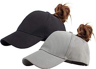 Eohak القطن ذيل الحصان القبعات البيسبول للنساء قابل للتعديل لون موحد