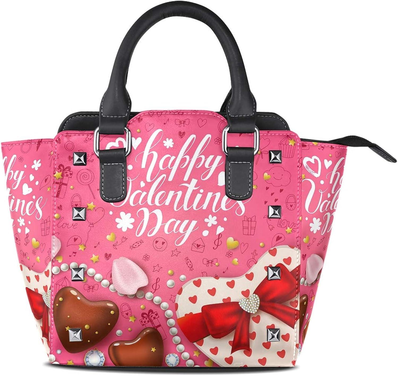 My Little Nest Women's Top Handle Satchel Handbag Happy Valentines Day Chocolate Heart Shaped Box Ladies PU Leather Shoulder Bag Crossbody Bag