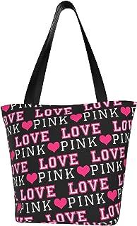 Victoria Secret Love Pink Dog Heart Canvas Tote Bag Casual Shoulder Handbag For Women