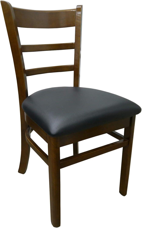Wooden Dining Room Chair Black PU Padded Vinyl Seat Teak Brumby
