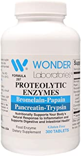Proteolytic Enzymes | Bromelain Papain Pancreatin Trypsin 450 mg Total with Standardized Amylase, Lipase, and Protease (300)