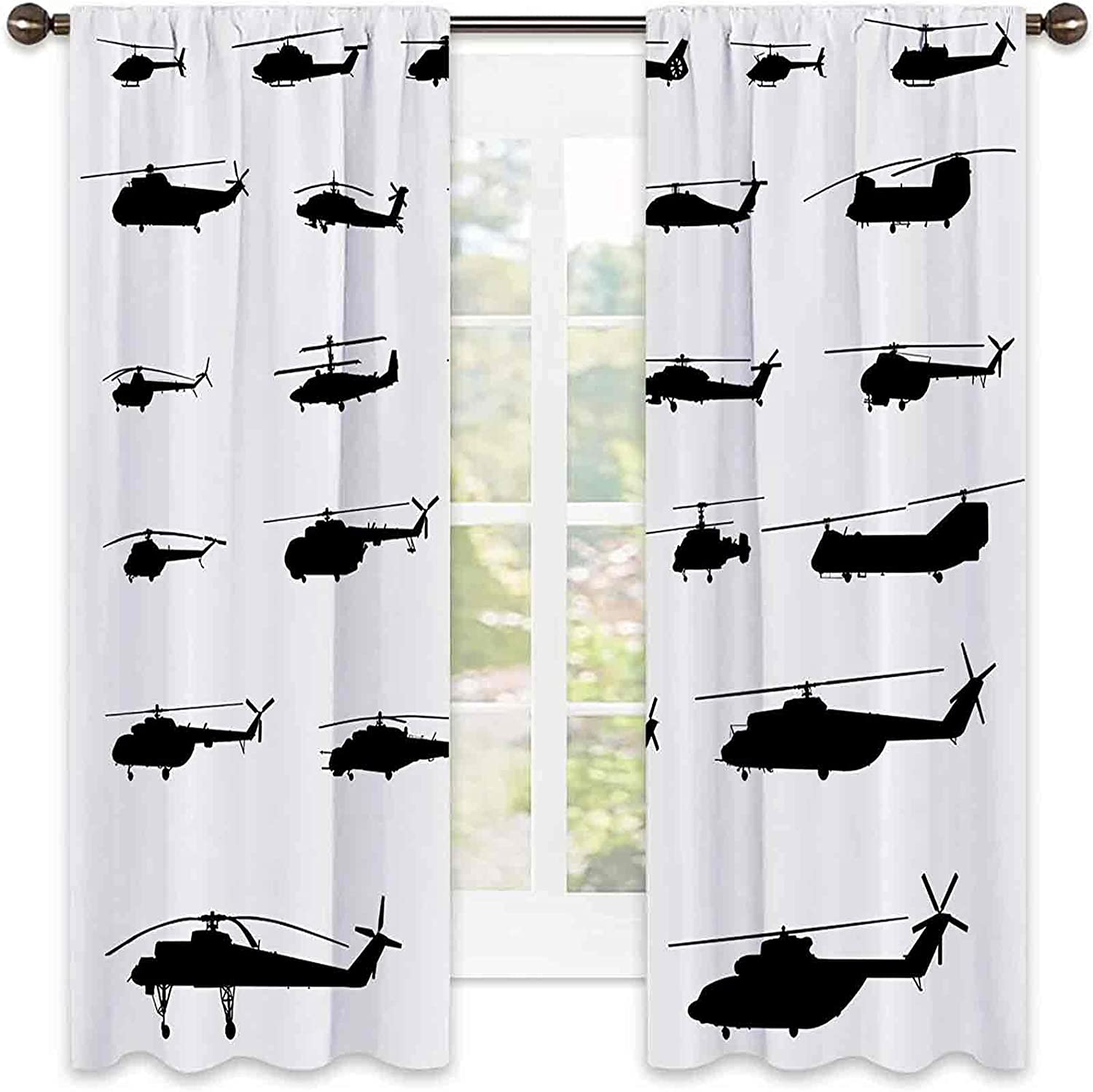 War Be super welcome Home Decor Bedroom Rod Curtains Limited time trial price Helicopter Blackout Pocket
