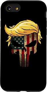 iPhone SE (2020) / 7 / 8 Vintage Trump Hair Skull 2020- 4th of July US American Flag Case