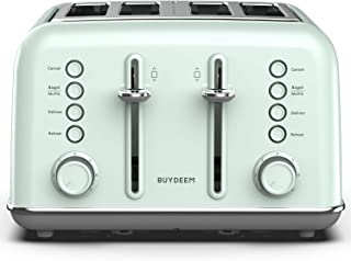 BUYDEEM DT-6B83G 4-Slice Toaster 丨Extra Wide Slots丨Teal Stainless Steel with High Lift Lever, Bagel and Muffin Function, 7-Shade Settings in Vintage Turquoise, Retro Pastel Green
