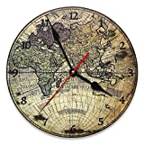 Reloj de pared vintage de MDF, diámetro 30 cm, con diseño mapa del mundo antiguo para decorar la casa de forma original, ideal para todos los ambientes de la casa.