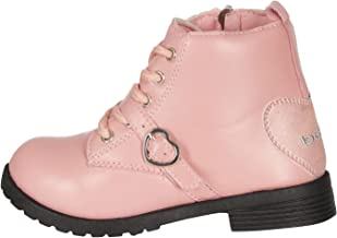 bebe Toddler Girls Lace Up Combat Boots with Heart Buckle Straps Fashion PU Shoes
