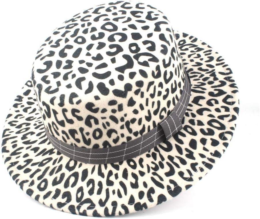 LIRRUI Wool Flat Top Hat Flat Top Hat Men Women Winter Wool Polyester Flat Top Hat Wool Felt Fedora Hat Autumn (Color : White, Size : 56-58)