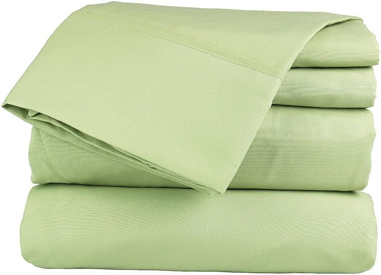Aashirainwear 4 PCs Bed Sheet Set 100% Cotton 400ThreadCount Queen Size Sage Solid (15 Inch Drop)