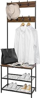 WOLTU SR0114dc Porte-manteau Portant pour l'entrée avec étagère de chaussures 7 crochets portant en bois et acier, Noir + ...