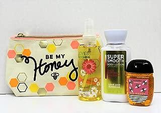 Bath and Body Works – Love & Sunshine - Fine Fragrance Mist & Body Cream - BEE HAPPY PocketBac Travel Size Set w/Make-Up Bag