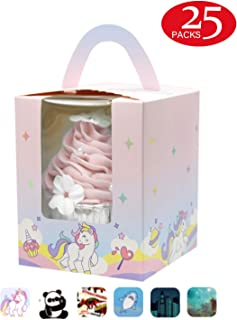 Yotruth Unicorn Cupcake Boxes For Grils Individual Easy Assembly Pop-up 25 Sets with Handle Window and Insert Pink Cupcake Boxes(Choice Series)